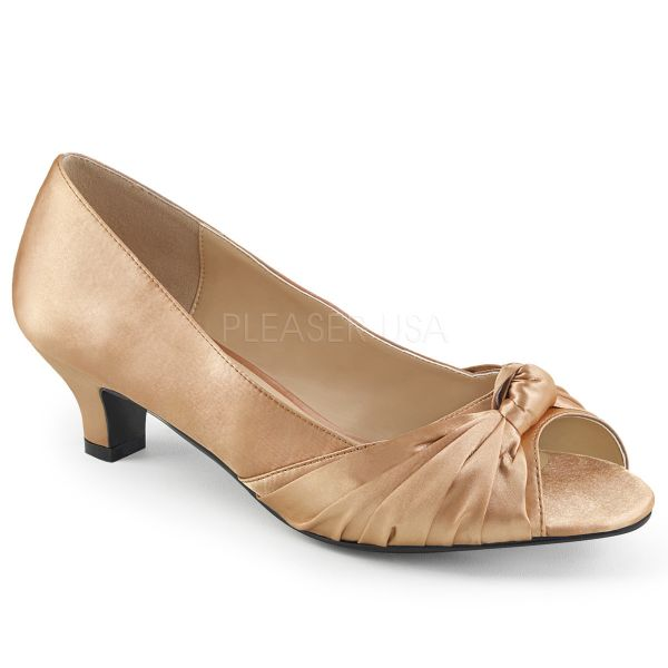 Peep Toe Pumps in blush Satin FAB-422